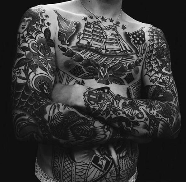 Men Chest And Upper Sleeve With Nice Flowers Tattoo: Top 60 Traditional Tattoo Sleeve Designs [2020 Update]