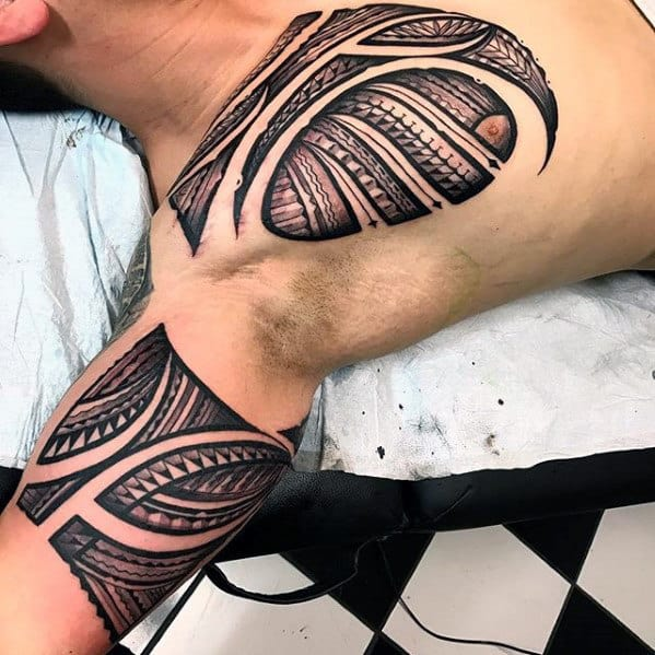 Chest And Bicep Guys Sick Tribal Polynesian Tattoo Ideas