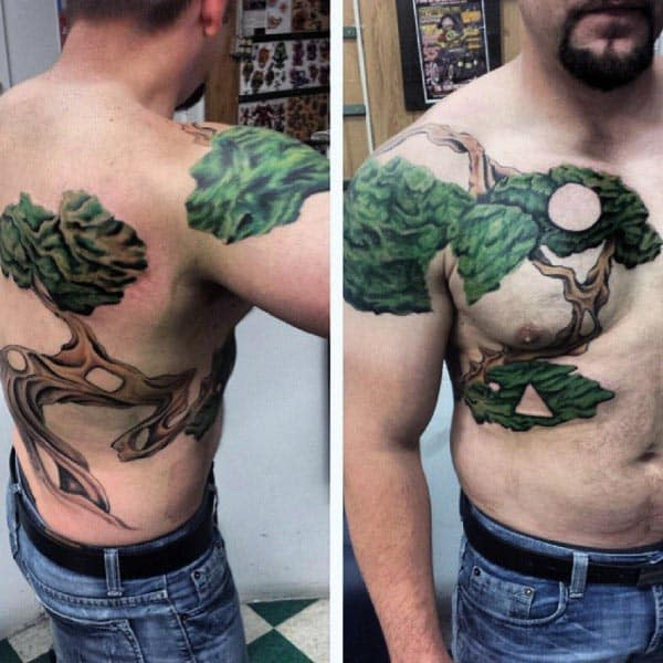 Chest And Chest Bonsai Tree Male Tattoo Designs