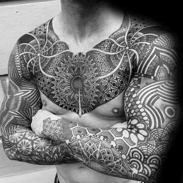 Chest And Full Arm Sleeves Mandala Tattoos Male