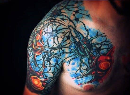 Chest And Half Sleeve Neuron Male Tattoos