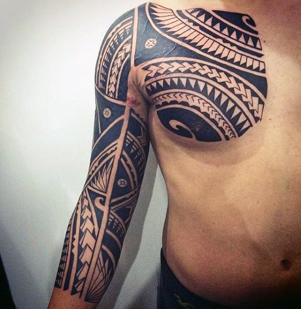 Chest And Half Sleeve Tattoos Tribal Designs For Guys