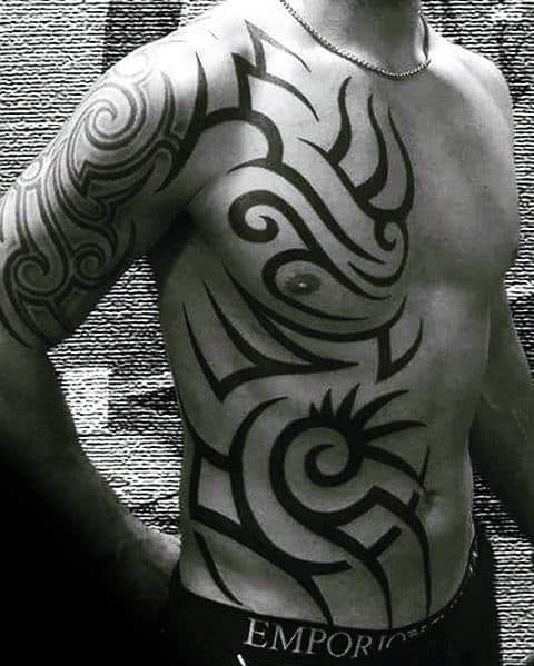 Chest And Rib Cage Mens Traditional Tribal Tattoos