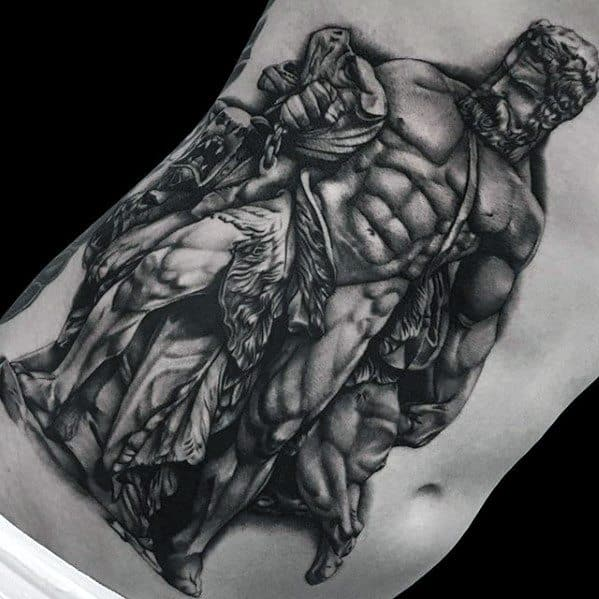 Chest And Ribs Roman Statue Tattoo Designs For Guys
