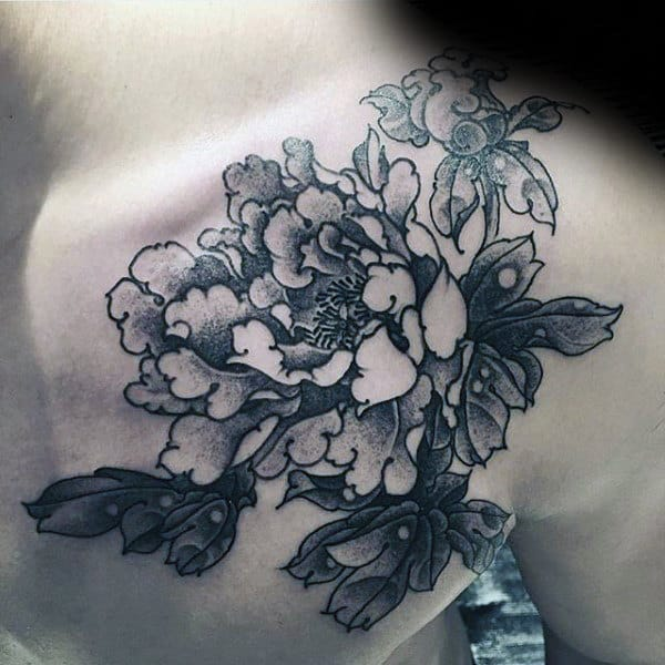 Chest And Shoulder Guys Black And Grey Peony Tattoo Designs