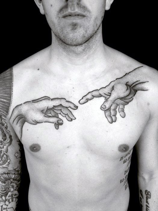 Chest And Shoulder The Creation Of Adam Tattoo Ideas On Guys