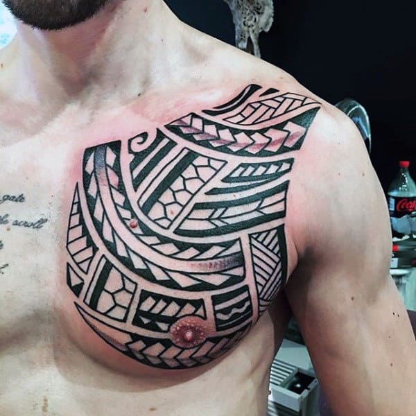 Chest And Shoulder Tribal Guys Tattoos