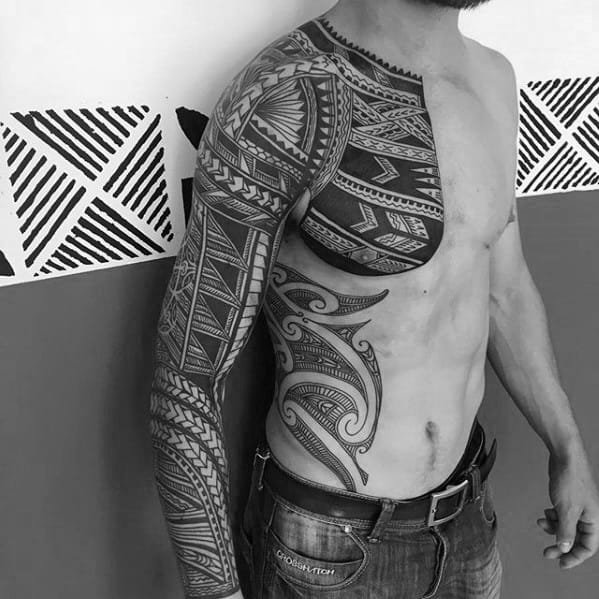Chest And Sleeve Badass Tribal Tattoo Design Ideas For Males