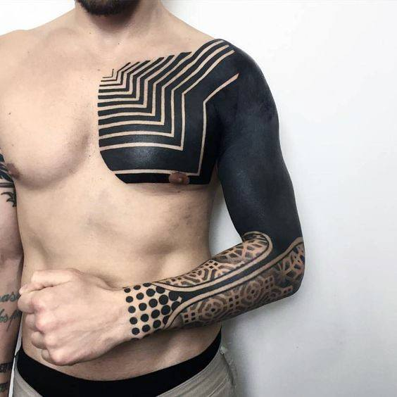 Chest And Sleeve Guys Solid All Black Ink Tattoos