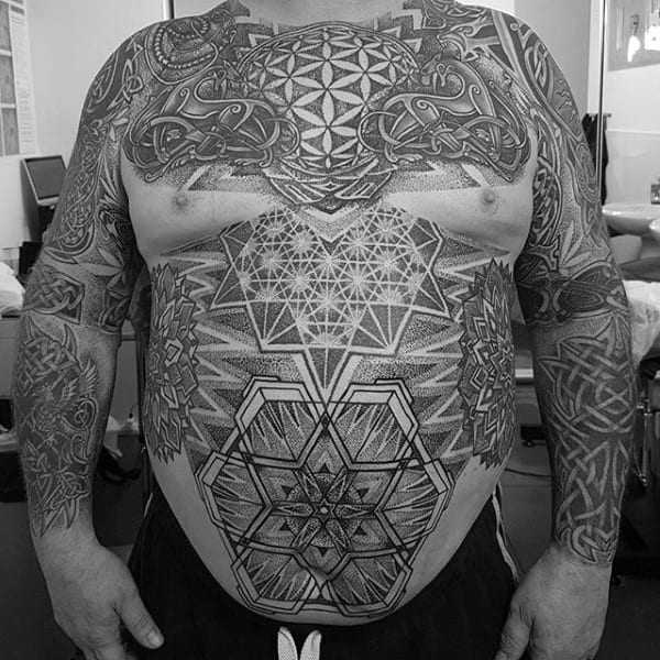 Chest And Sleeves Mens Celtic Inspired Tattoos