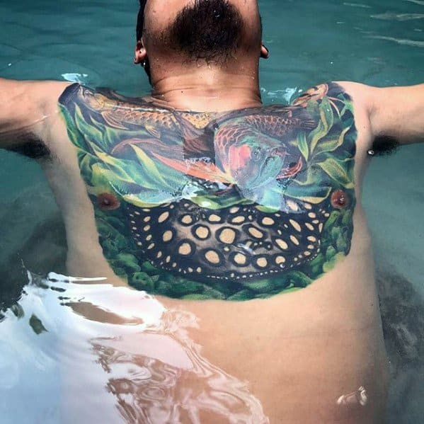 Chest Arowana Guys Tattoos