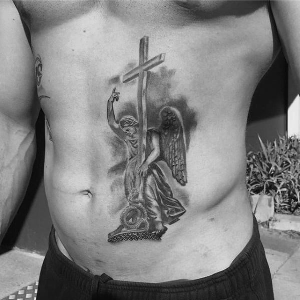 Chest Awesome Angel Statue Tattoos For Men