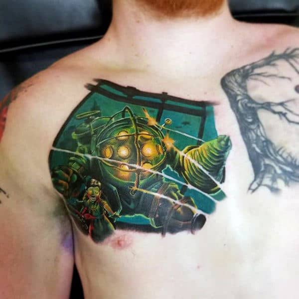 Chest Bioshock Mens Video Game Tattoos