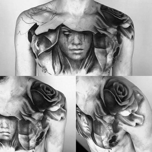 Chest Black And Grey Mens Surrealism Tattoo Ideas