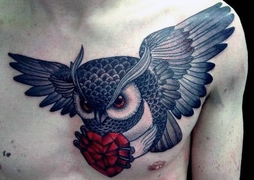 Chest Black And Grey Owls Tattoo On Man With Red Heart