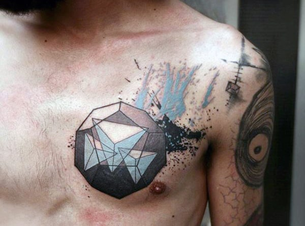 Chest Blue Black Triangular Pyramid Tattoo For Men