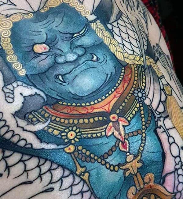 Chest Blue Fudo Myoo Tattoo Designs For Guys
