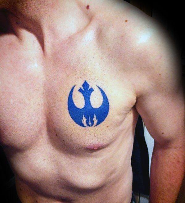 Chest Blue Ink Mens Rebel Alliance Tattoo Design Ideas