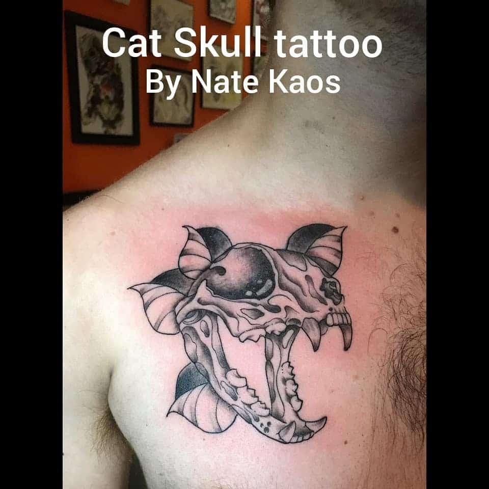 chest cat skull tattoo nate_kaos_tattoo