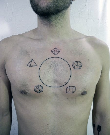 Chest Circle Line Tattoo With Shapes For Men