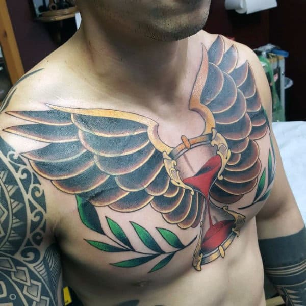 Chest Color Hourglass Wings Tattoo For Guys