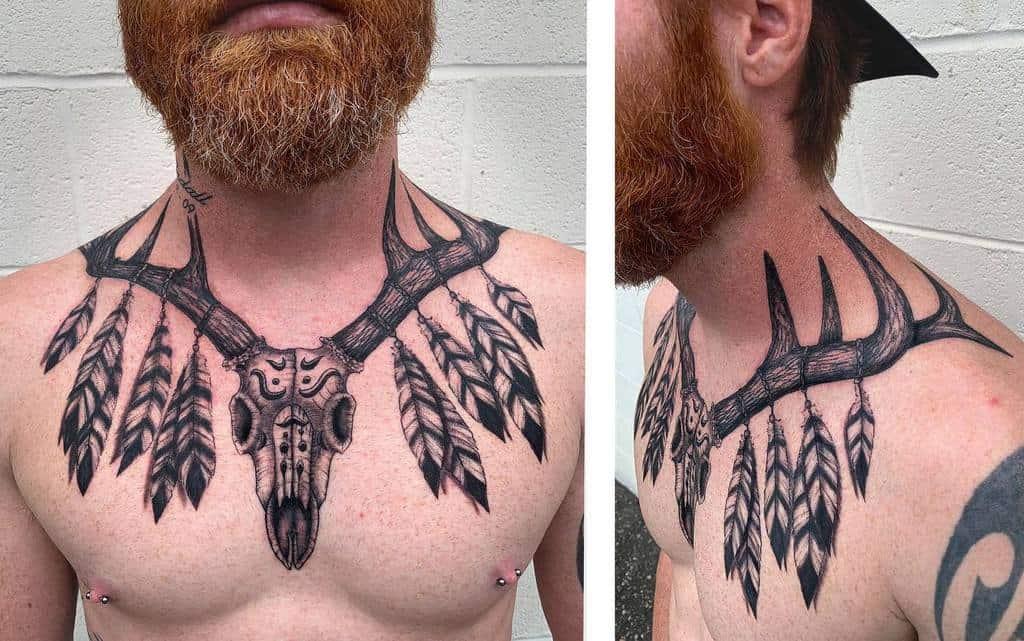 chest deer skull tattoo inkpoet