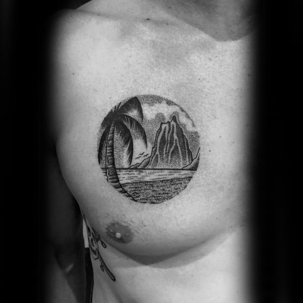 Chest Detailed Circular Volcano Tattoos For Gentlemen