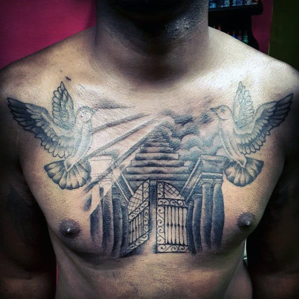 Chest Doves Flying Around Heaven Gates Tattoo For Men