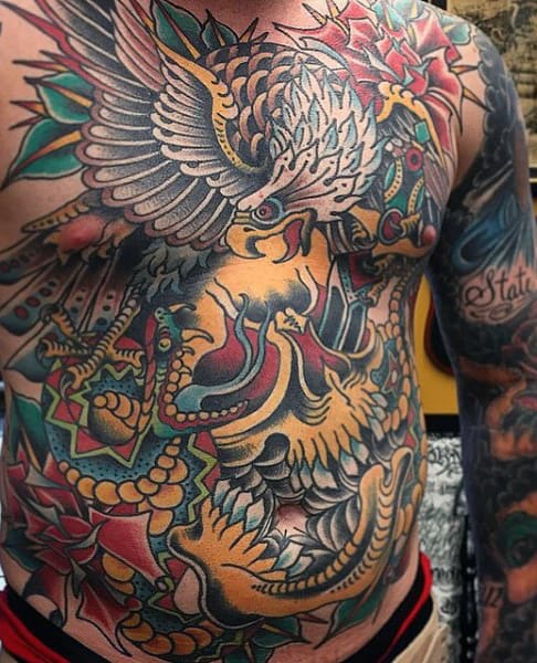 Chest Eagle Men's Color Tattoos