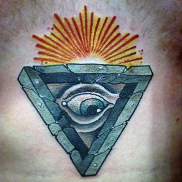 Chest Eye With Sun Rays Mens Penrose Triangle Tattoo Ideas