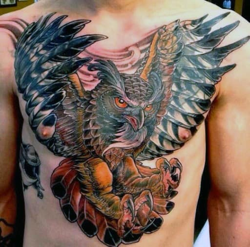 Chest Flying Owl Tattoos Men