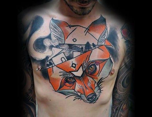 Chest Fox Creative Surrealism Tattoos For Men