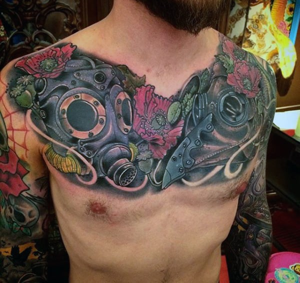 Chest Gas Mask Tattoos For Men