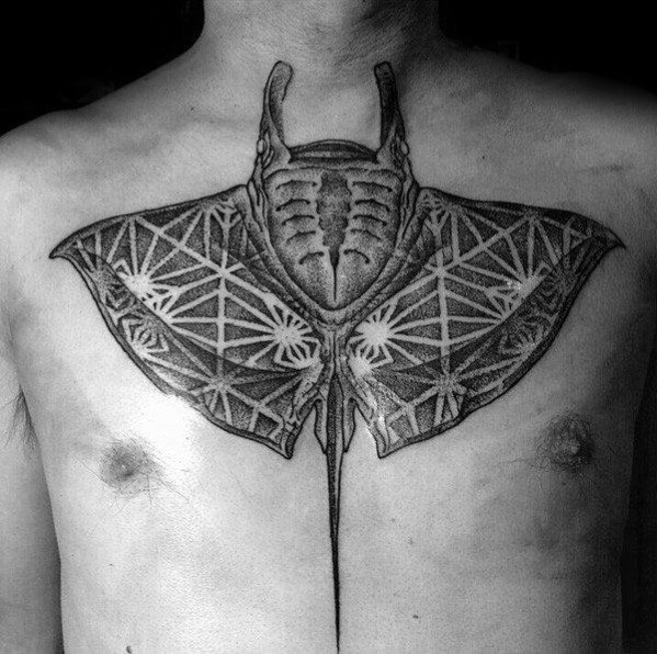 Chest Geometric Dotwork Negative Space Manta Ray Guys Tattoo Designs