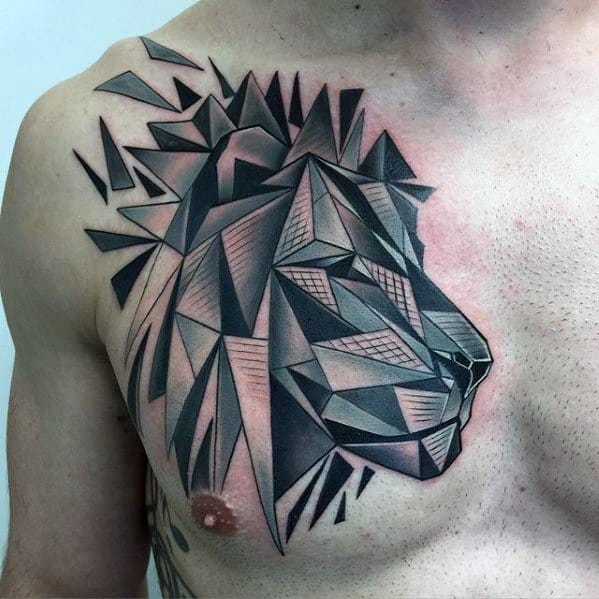 Chest Geometric Lion Tattoo Ideas For Gentlemen