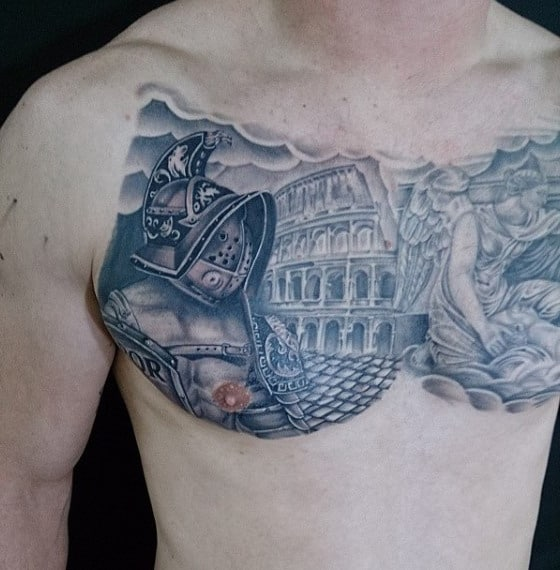 Chest Gladiator Tattoo Idea Inspiration For Men