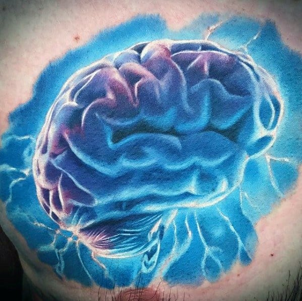 Chest Glowing Electric Brain Consciousness Male Tattoo Designs