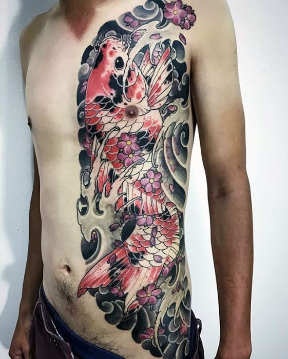 Chest Guys Japanese Koi Fish Tattoos With Watercolor Design