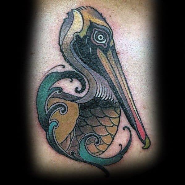 Chest Guys Pelican Tattoo Deisgns