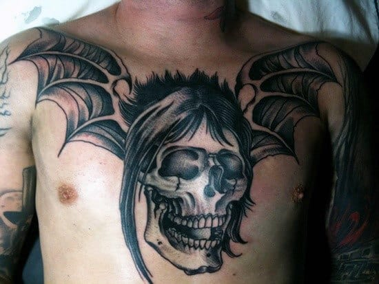 Chest Guys Skull Bat Tattoos