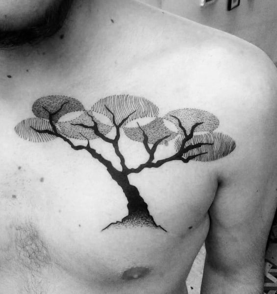 Chest Guys Tattoo Cool Tree