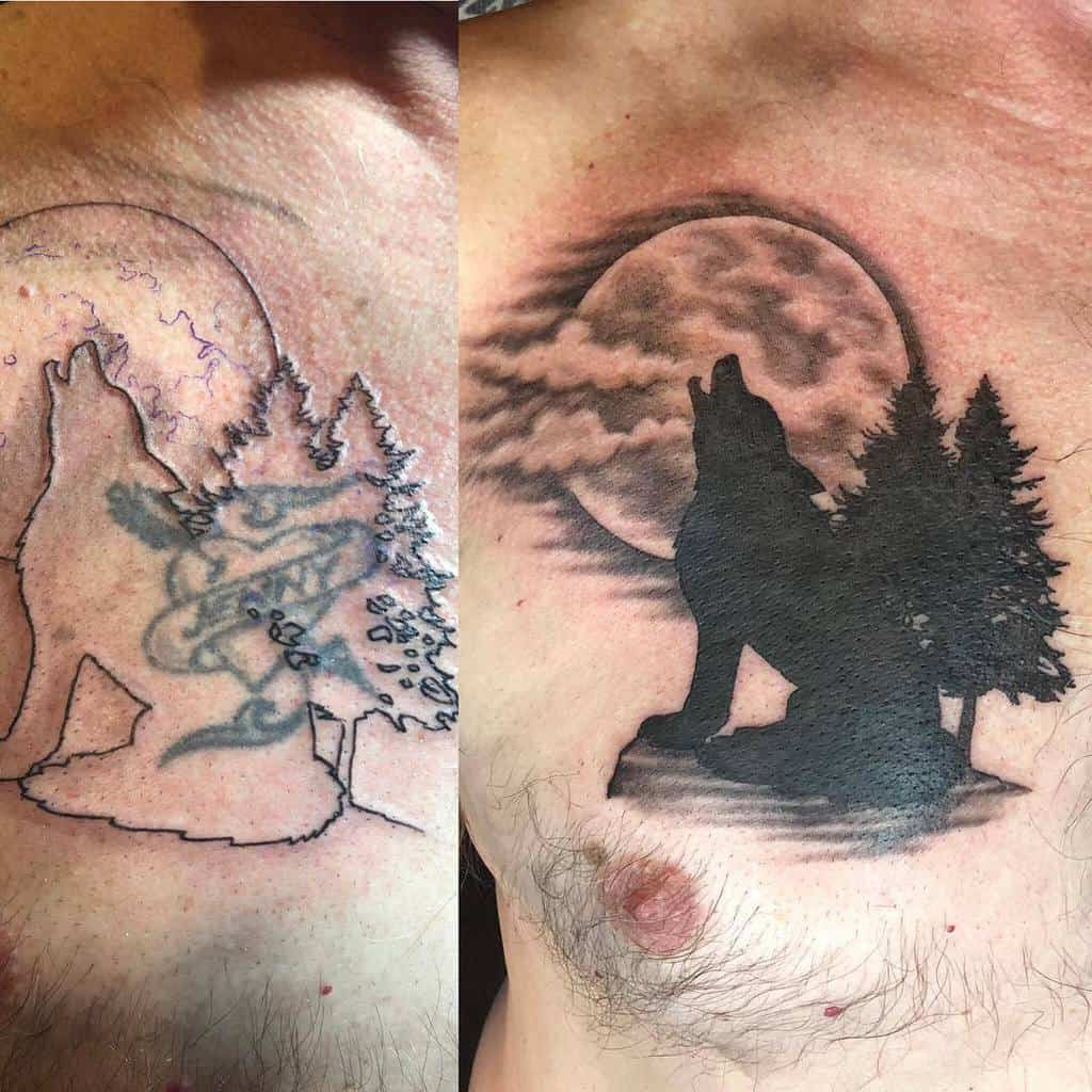chest howling wolf tattoo everymothersnightmare
