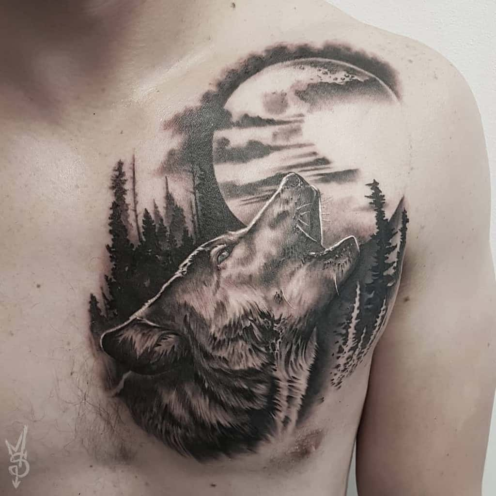 chest howling wolf tattoo martins.silins