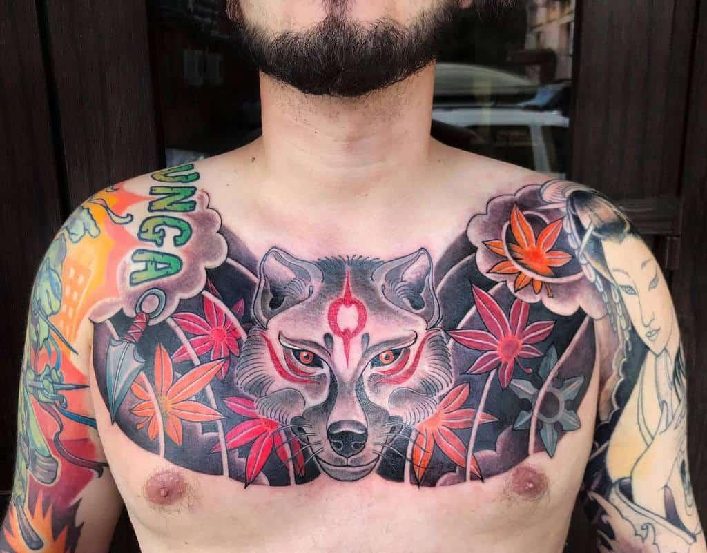 chest japanese wolf tattoo ksutattoo