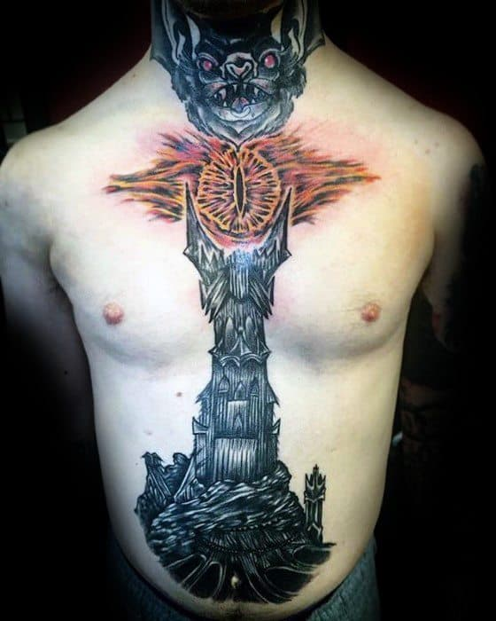 Chest Male Eye Of Sauron Tattoo Design Inspiration