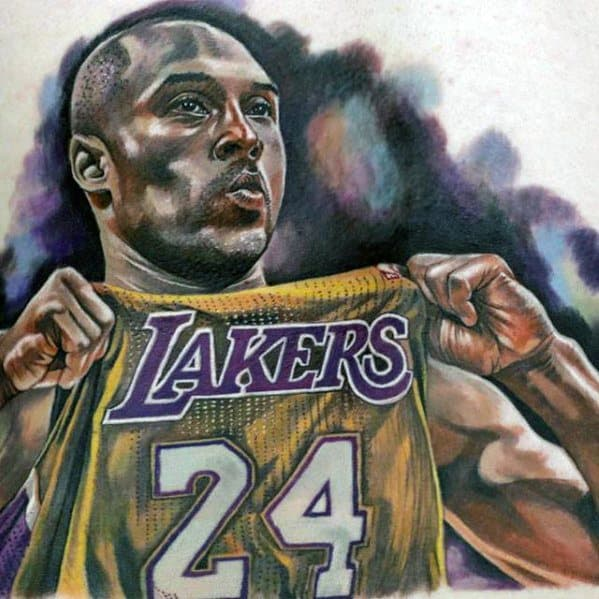 Chest Male Kobe Bryant Tattoo Basketball Player Design Inspiration