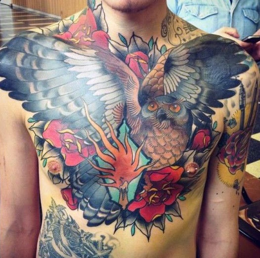 Chest Male Owl Flying Tattoo