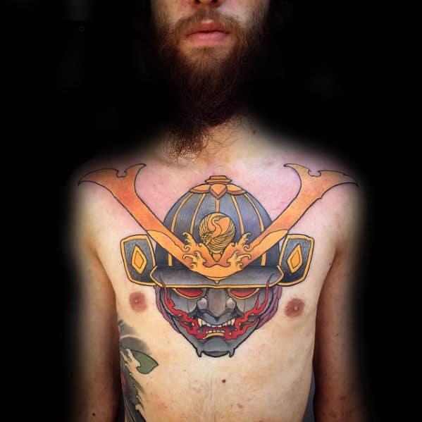 Chest Male Sweet Samuari Helmet Tattoo Design Ideas