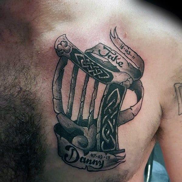 Chest Manly Harp Tattoo Design Ideas For Men