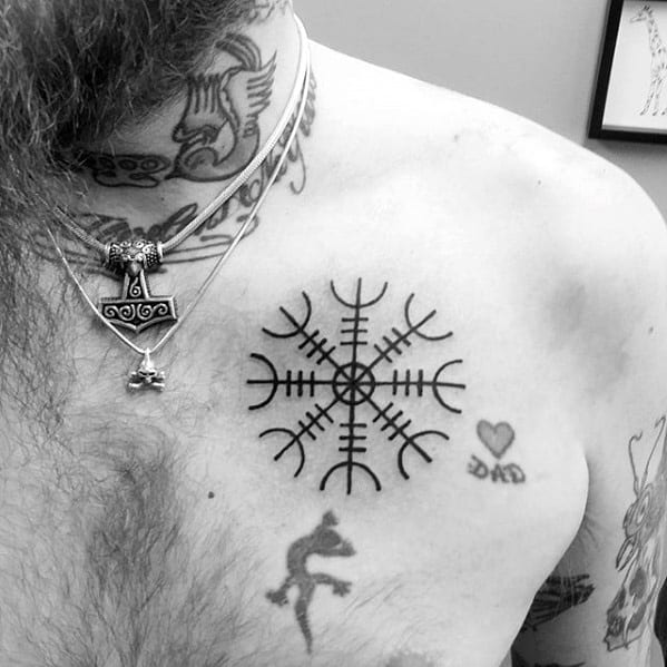 Chest Masculine Helm Of Awe Tattoos For Men